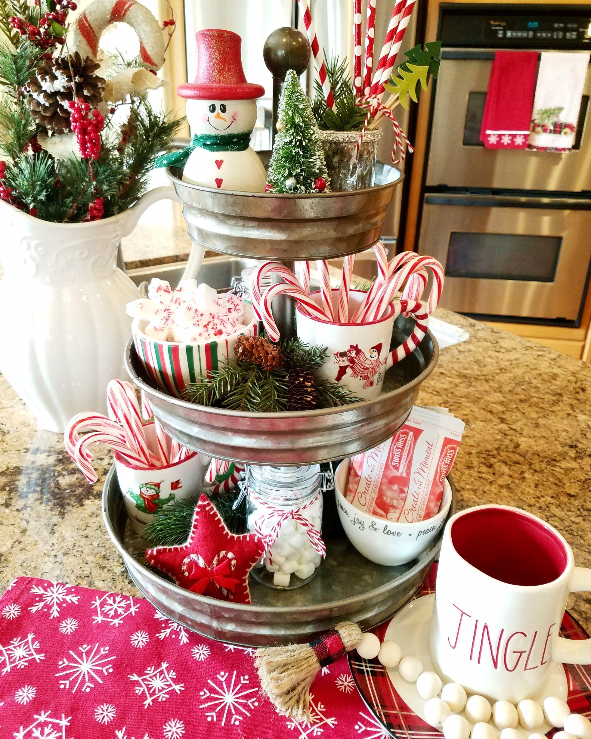 Christmas hot cocoa station /kitchen tiered tray Tray