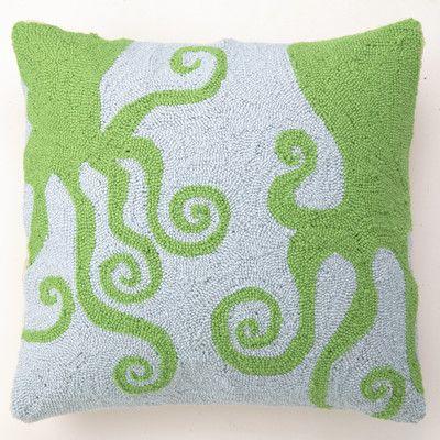 Peking Handicraft Octopuses Wool Throw Pillow