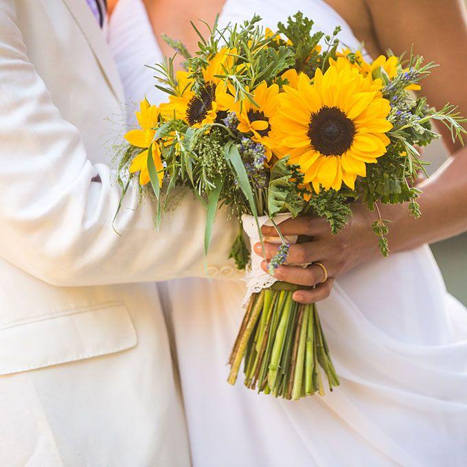 Sunflower Wedding Bouquet Ooooo Look At The Coordinating Greens Rosemary Grasses Geranium