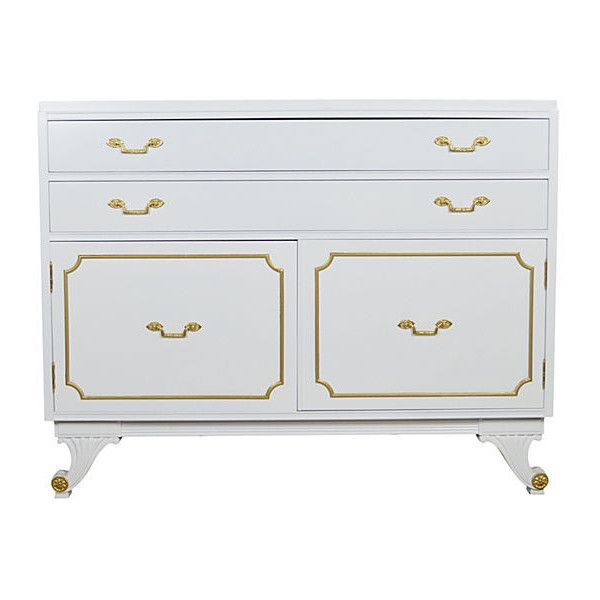 Pre-Owned Neoclassical-Style RWay Chest ($1,575) ❤ liked on Polyvore featuring home, furniture, storage & shelves, dressers, white lacquer furniture, white furniture, neoclassical furniture, white lacquer dresser and white bedroom dresser