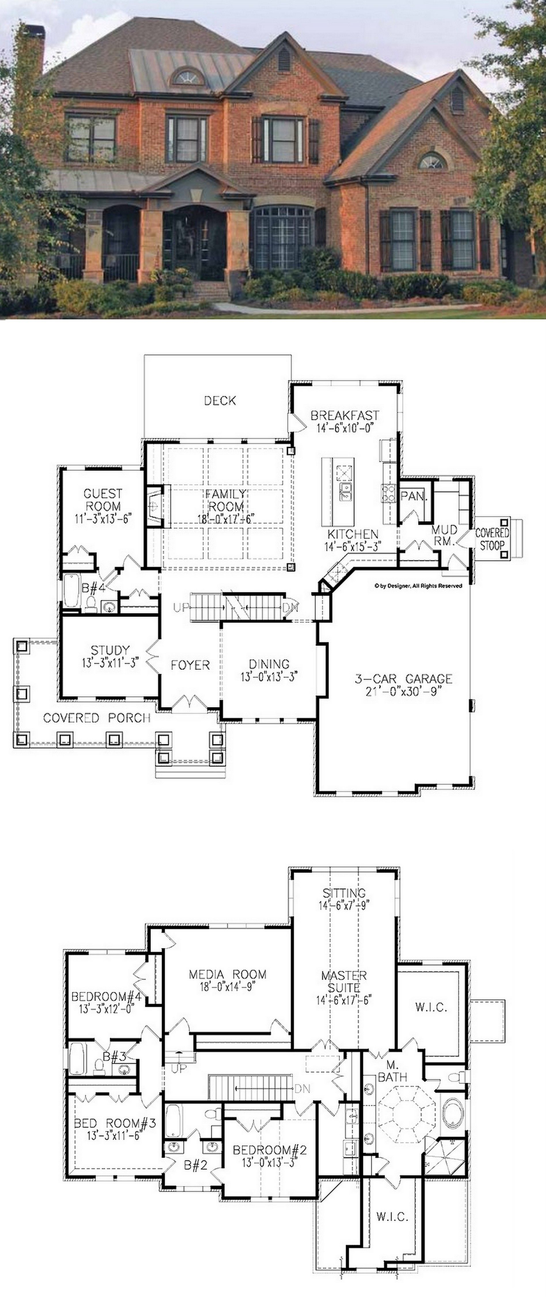 Traditional Style House Plan 5 Beds 4 Baths 3962 Sq Ft Plan 54