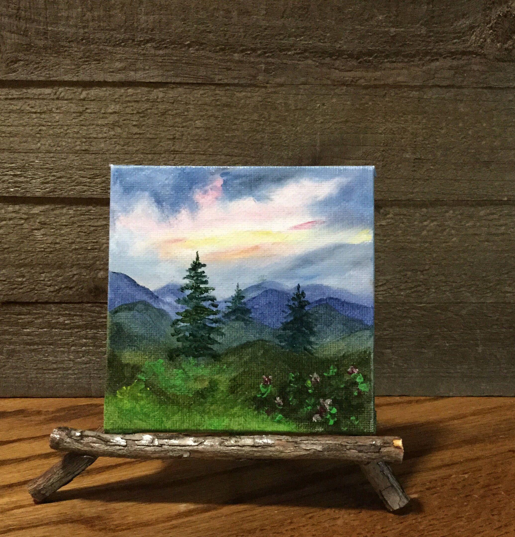 Mountain Landscape Miniature Painting Oil Painting Easel Small Canvas Paintings Mountain Landscape Painting Mountain Paintings