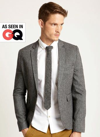 Grey Tweed Slim Fit Blazer | Suit Inspiration | Pinterest ...