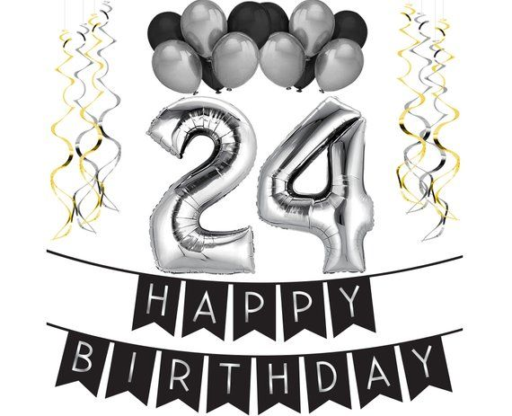 24th Birthday Party Pack Black Silver Happy Bunting Balloon And Swirls