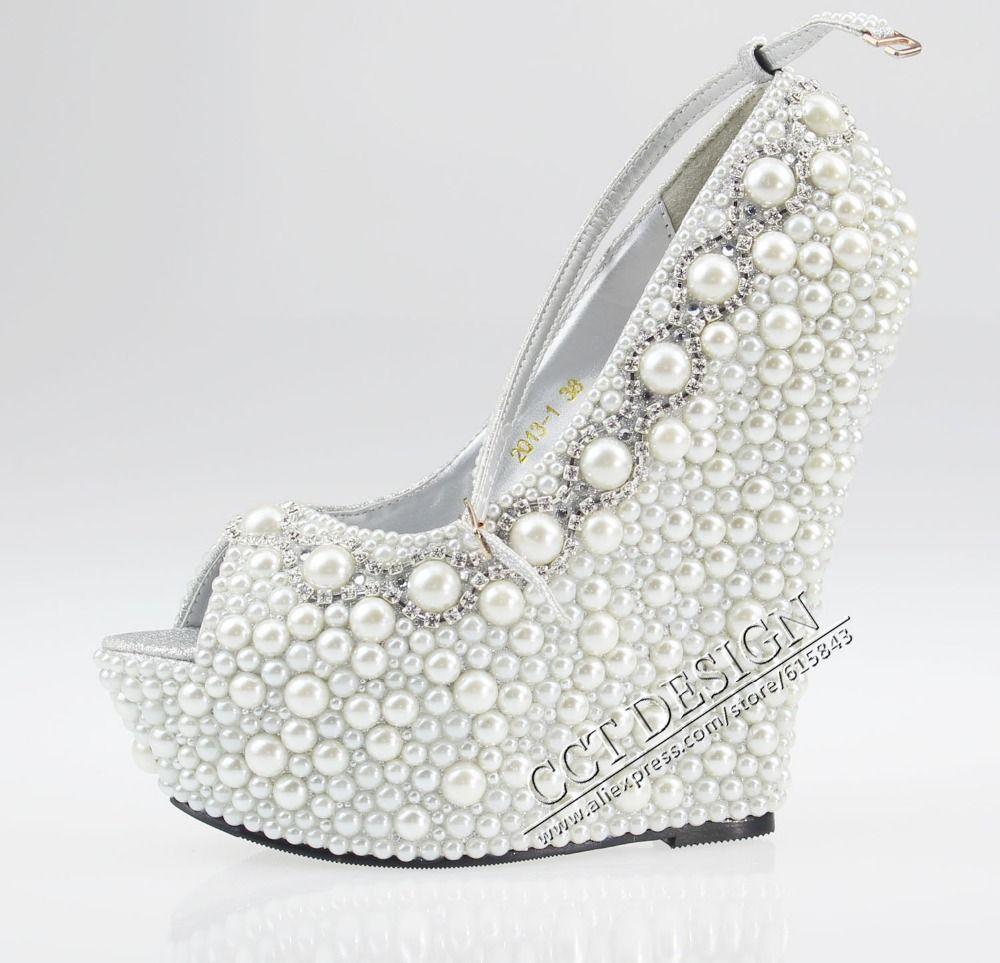 Wedges Cm Peep Toe Wedding Bridal High Heels Ankle Strap Pumps Shoes 17