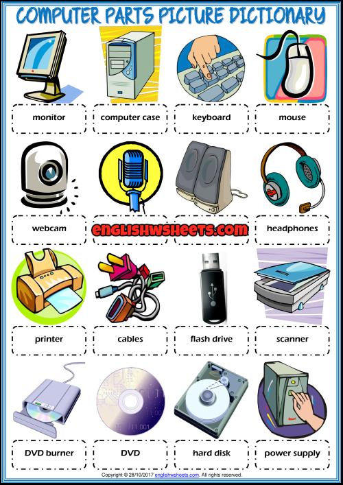Computer Parts Esl Printable Picture Dictionary For Kids In 2020 Kids Computer Computer Basics Computer Lab Lessons