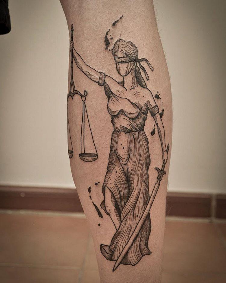 Justice Tattoo Blackwork Justice God Geometric Tattoo Tattoos Tattoo Artists
