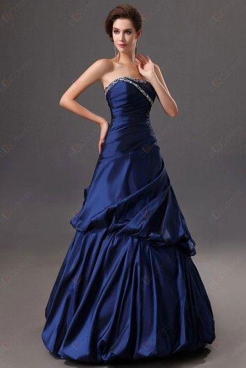 Eveing dress A-line Strapless Taffeta Floor-length Beadings Lace Up Back Evening Dresses