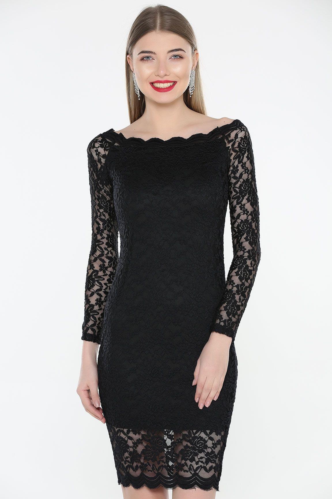 a7c0fa092 Siyah KAYIK YAKA DANTELLİ ELBİSE, 2019 | Elbise Modelleri | Elbise ...