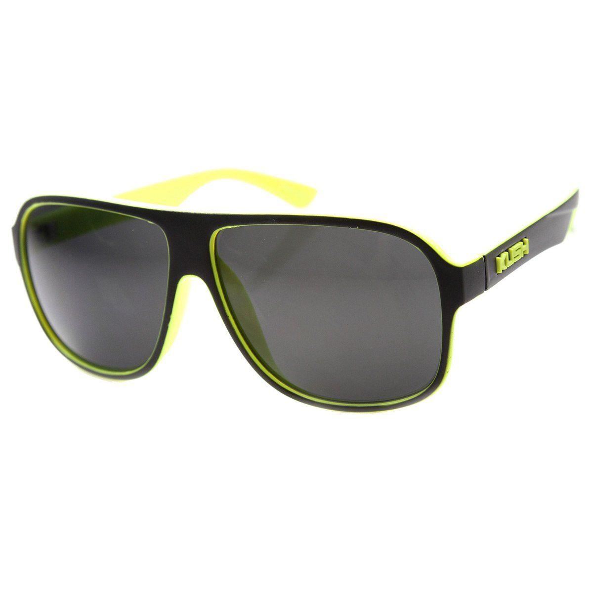 76f24b590a Mens Flat Top Plastic Neon Two-Toned Aviator Sunglasses