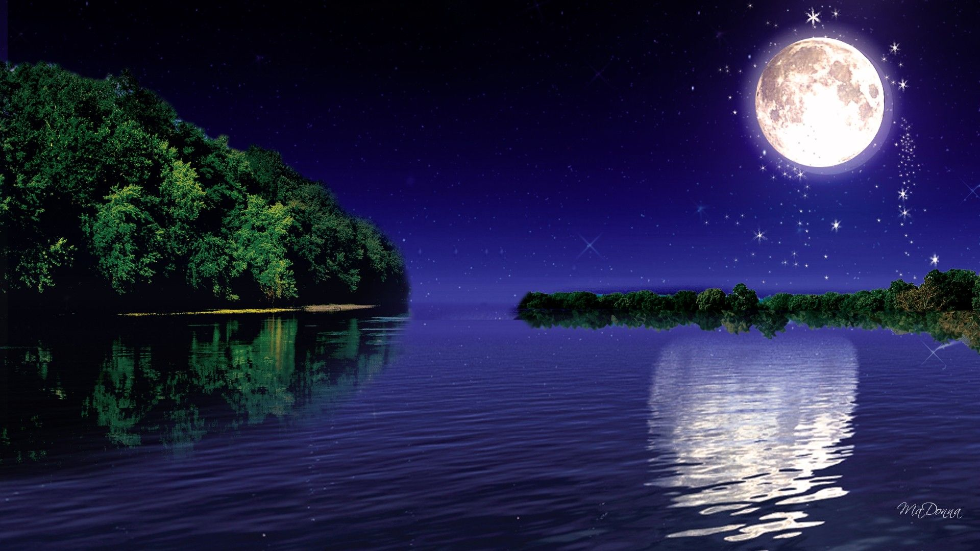 луна над водой картинка одном