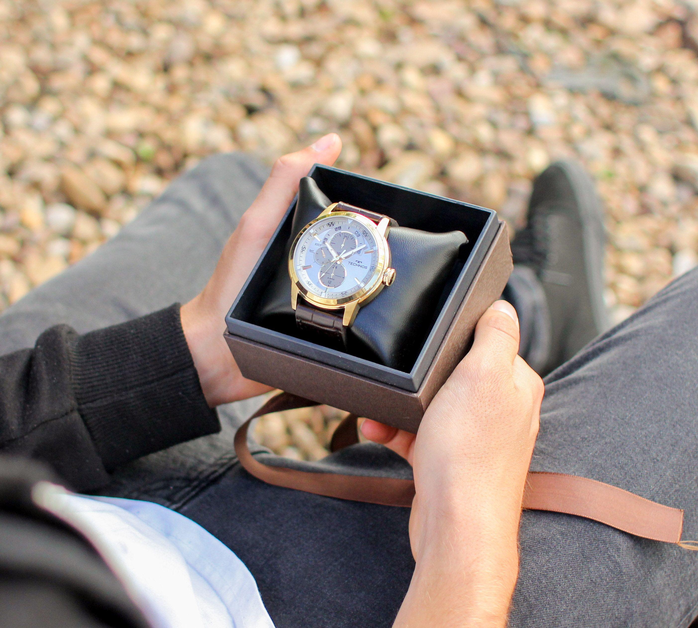 Relógio Technos com pulseira de couro  Safira  ÉPraVocê  SafiraOnline   Relógio  RelógioMasculino d10c2c57d5