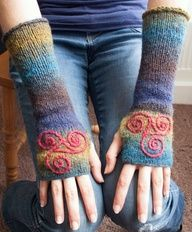 Arm warmers  knitted Irish wool  Celtic spiral design by TraBan, $ 25.00