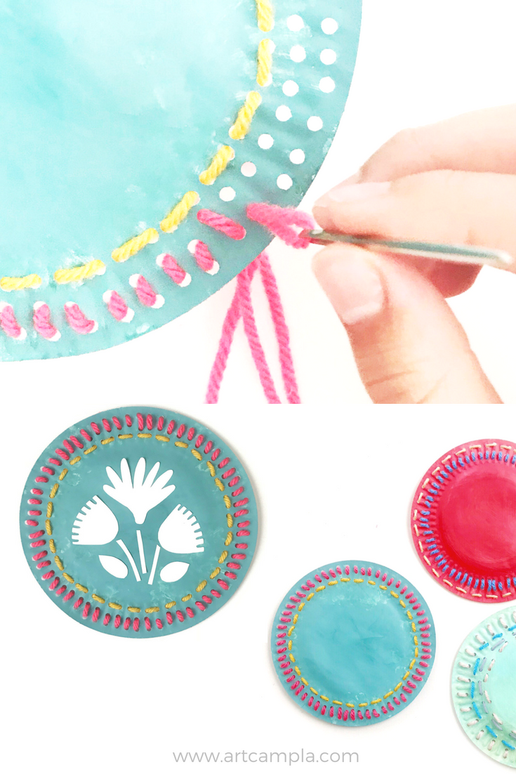 Folk Art Sewing Plate Art Camp Sewing Crafts Kids Art Projects Arts And Crafts For Teens