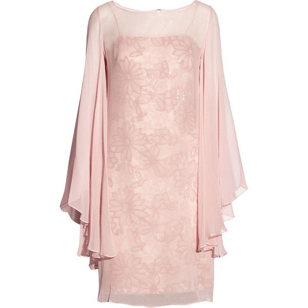 Mikael Aghal Sweetheart sequin-embellished silk dress ($242) ❤ liked on Polyvore featuring dresses, short dresses, pink, vestidos, cocktail dresses, baby pink, knee length cocktail dresses, short sequin dress, mini dress and short sequin cocktail dresses