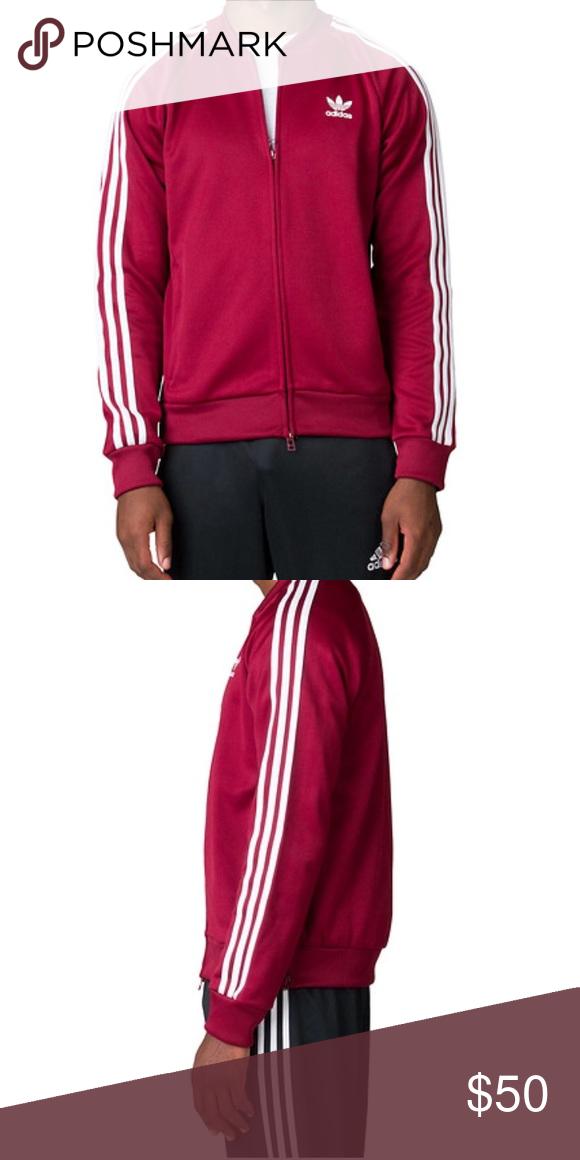 Nwt adidas ne traccia giacca dei rilassati a differenza della borgogna