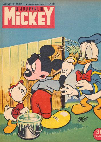 Mickey Mouse Painting a Fence, Vintage Journal de Mickey Picture - 1950's