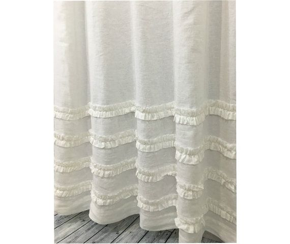 White Shower Curtain With Rows Of Ruffles 100 Linen 72x72