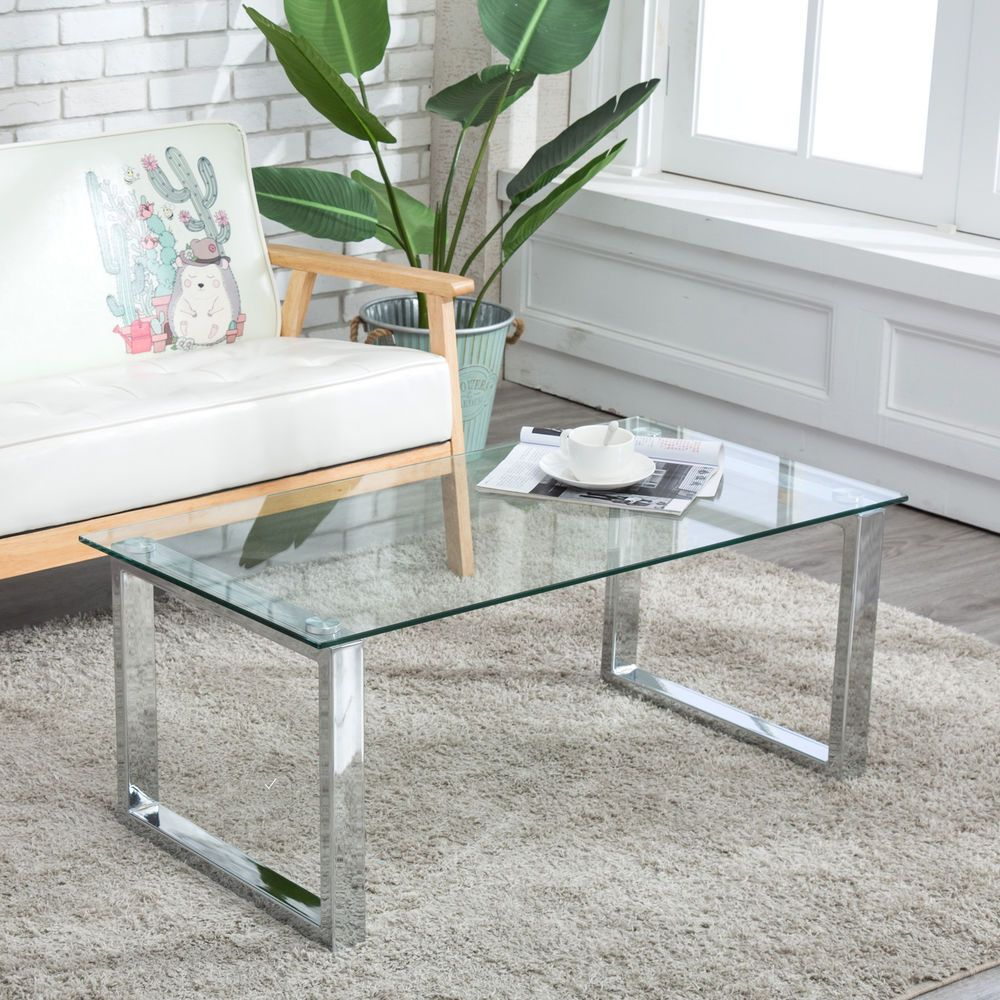Modern Glass Stainless Steel Coffee Table Side End Table Living Room Furniture 49 90 End Date Thursday S Coffee Table Glass Table Living Room Living Table [ 1000 x 1000 Pixel ]