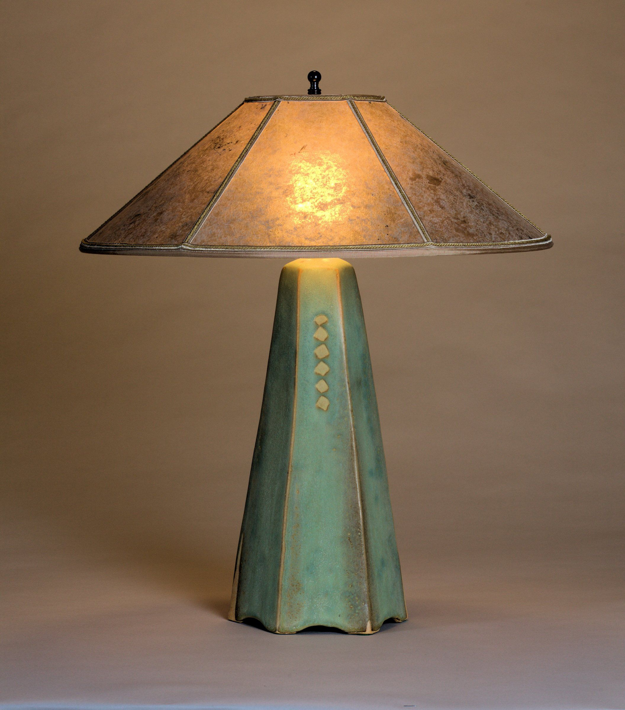 Six Sided Lamp In Celery Glaze By Jim Webb (Ceramic Table Lamp