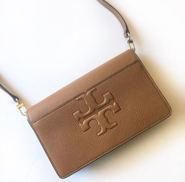 cfe587f737bd TORY BURCH Bombe-T Small Crossbody Bag ~ Bark Brown Leather ~ New NWT   ToryBurch  Crossbody