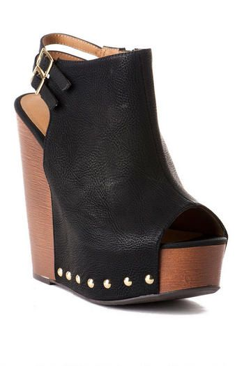 Chinese Laundry Shoes, Jeepers Studded Wedge in Black