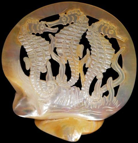 Gold Mother Of Pearl Seahorses Sculpture Oyster Shells Nautical Beach Display