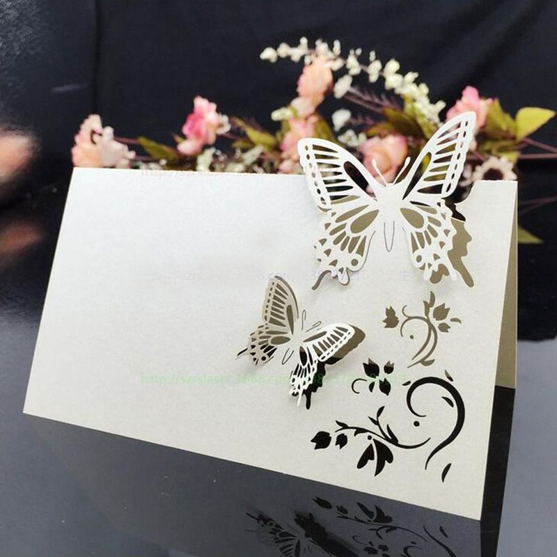 100pcs Erfly White Place Cards Birthday Party Table Name Card