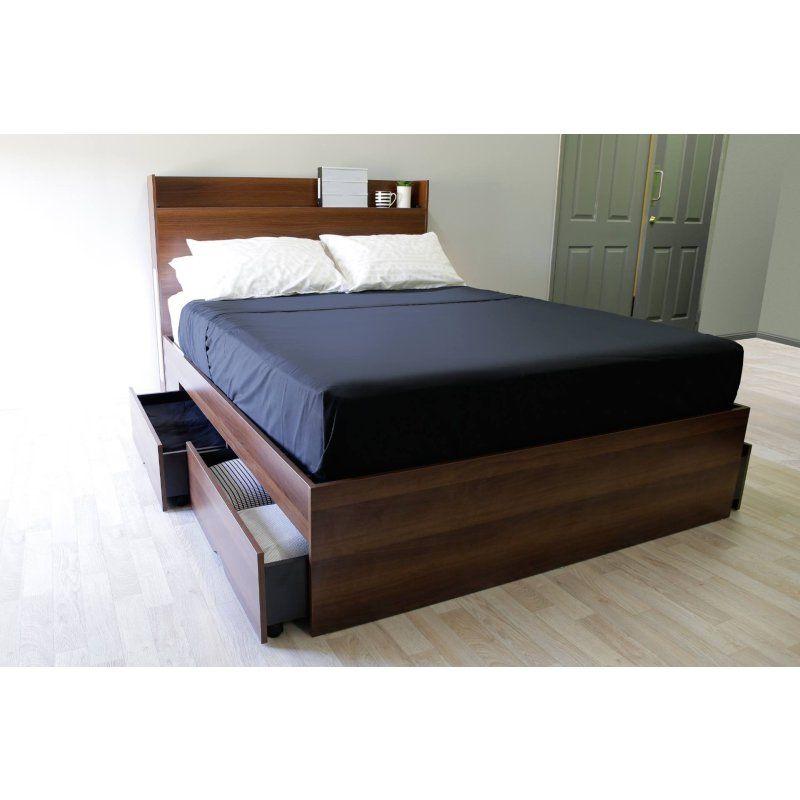 Emma S Design Nova W Lights 4 Drawers Storage Platform Bed Walnut