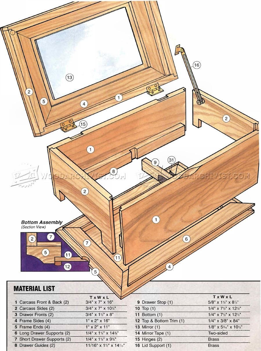 2984 Build Jewelry Box Woodworking Plans Quick DIY Jewelry