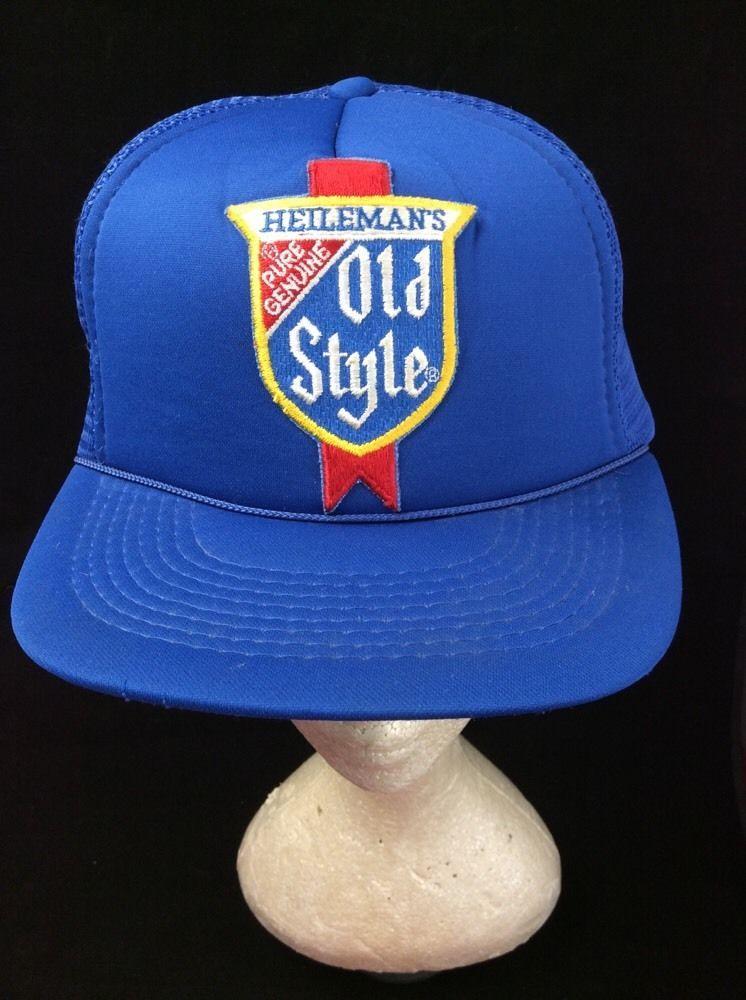 c446b272d528a Old Style Beer Vintage Mesh Trucker Hat SnapBack Heileman s Blue Cap   DesignerPro  Cap  Casual