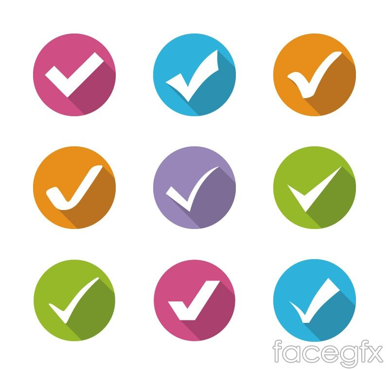 9 Color Check Mark Icon Vector