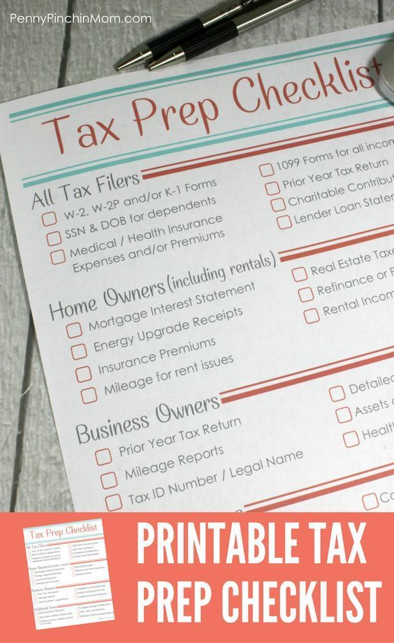 Printable Tax Prep Checklist Free printable, Organizations and - printable tax form
