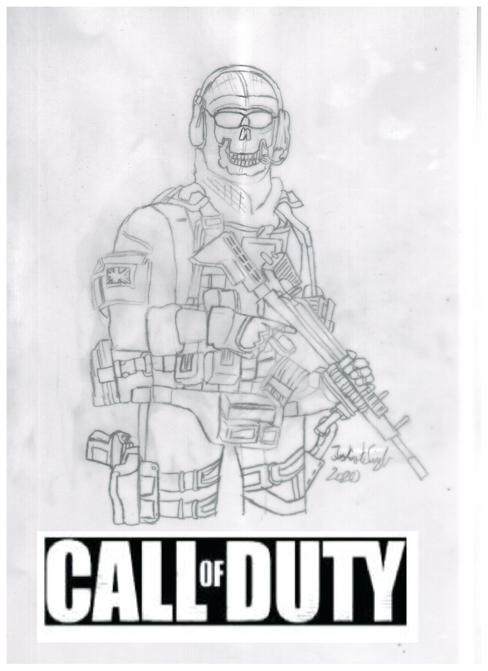 Cod Mobile Ghost Coloring Page Nel