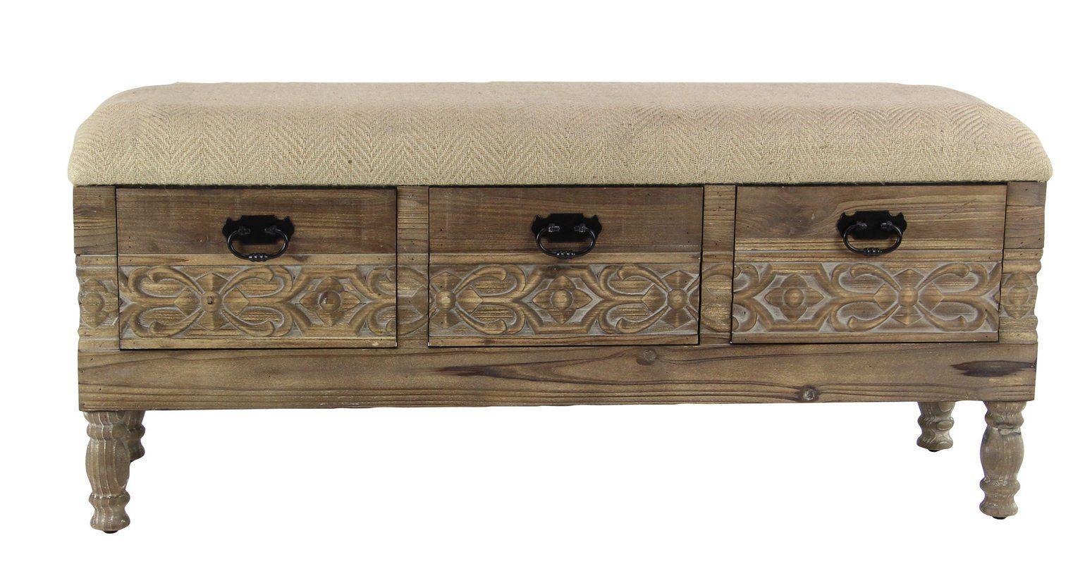 Gorgias Rustic Solid Wood 3 Drawer Storage Bench 3 Drawer Storage Storage Drawers Storage Bench
