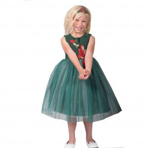7ecd5f417 Kids Dream Big Girls Green Red Rose Sparkle Tulle Junior Bridesmaid ...