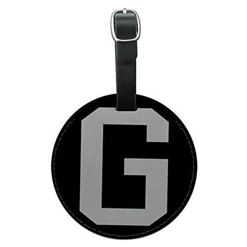 Letter G Initial Black White Round Leather Luggage ID Tag Suitcase CarryOn *** More info could be found at the image url.Note:It is affiliate link to Amazon.