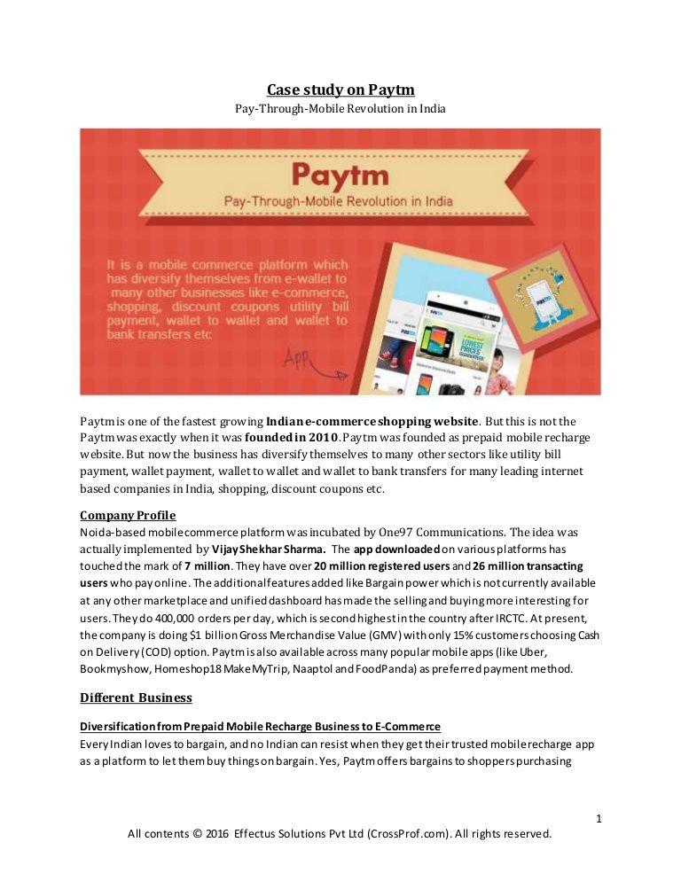 Paytm Case Study Crossprof Com Marketplace For Service