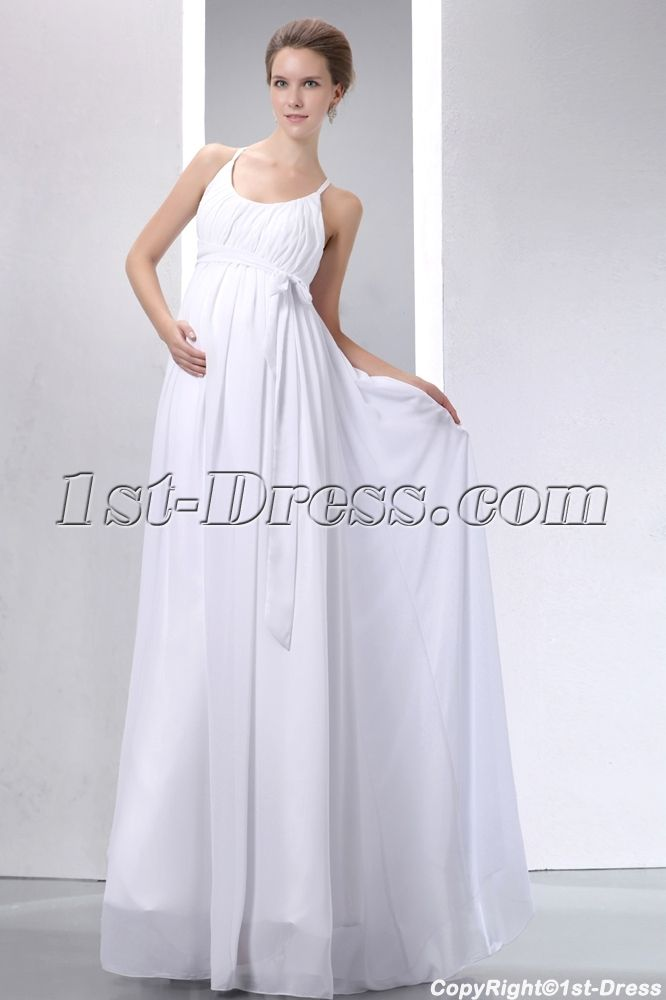Simple Straps Ivory Chiffon Pregnant Bridal Gown:1st-dress.com ...