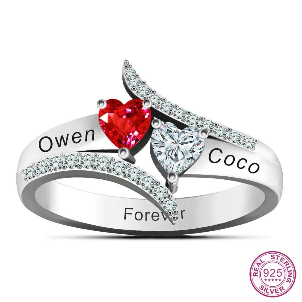 79ec6bf2b Love'S Promise Rings 925 Sterling Silver Personalized Couples Engraved Name  Ring DIY Two Heart Stones by RoyaleJewel on Etsy