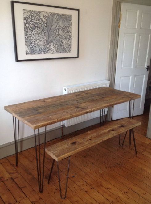 Industrial Handcrafted Reclaimed Wood Kitchen Dining Table Vintage Hairpin Legs Full Plank Used