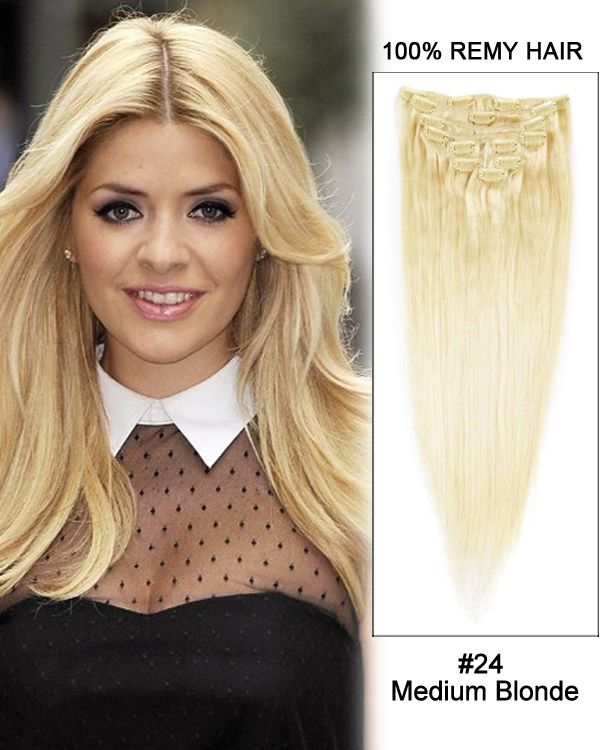 16 Inch 7pcs Straight Indian Clip In Remy Hair Extensions 24