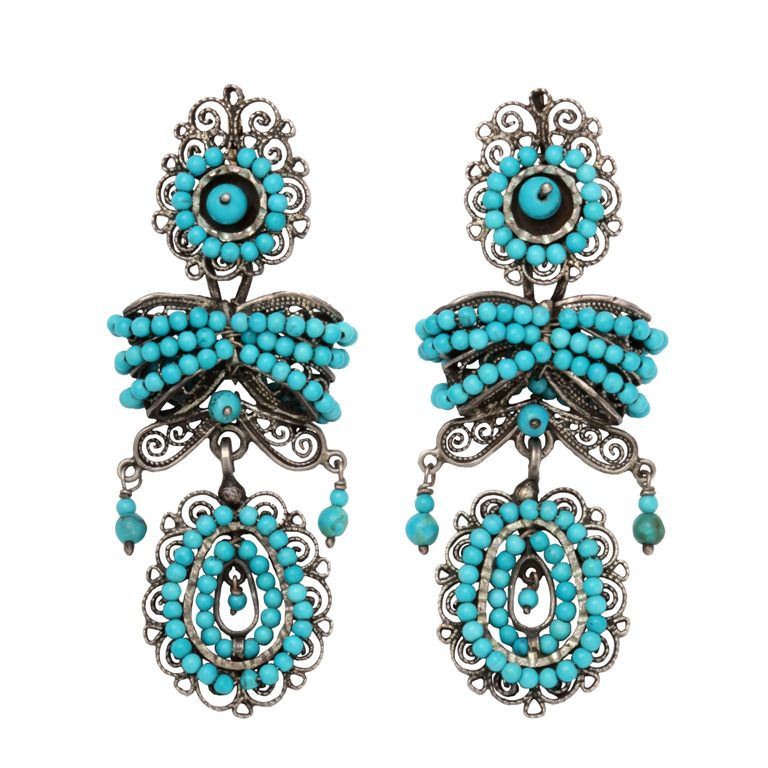 Vibrant mexican colonial design turquoise earrings colonial vibrant mexican colonial design turquoise earrings mozeypictures Images