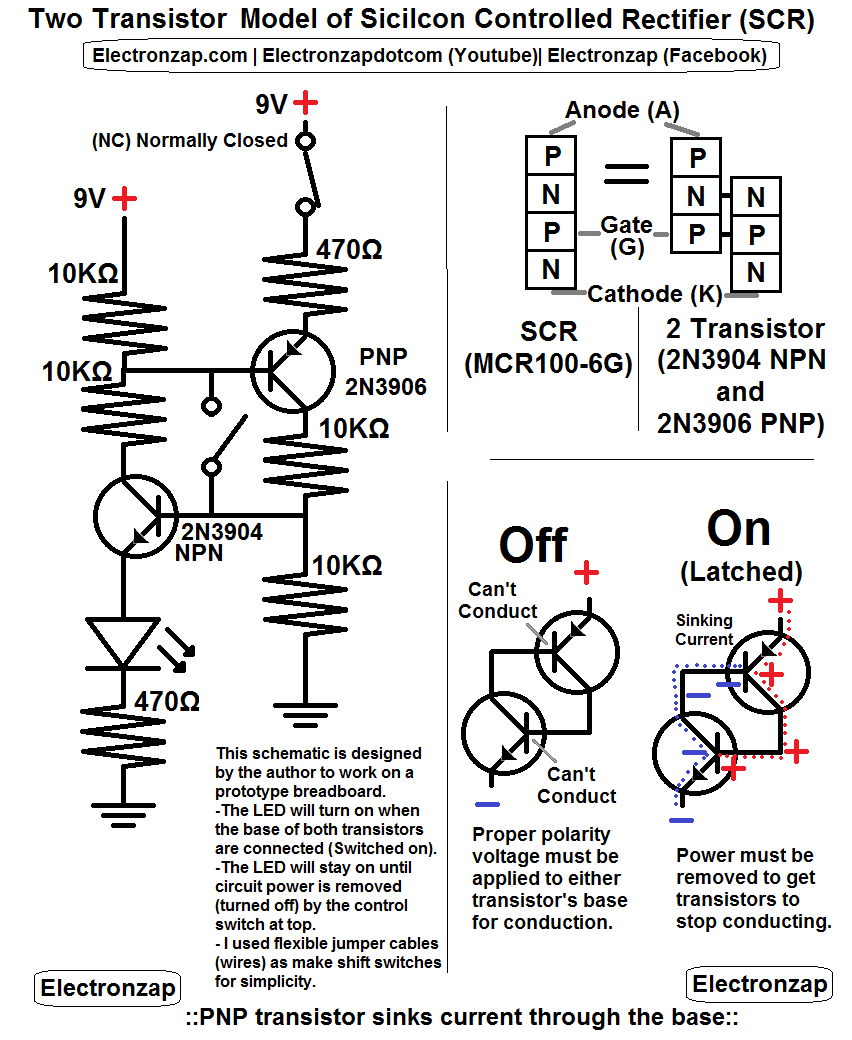 small resolution of 2n3904 npn and 2n3906 pnp circuit schematic circuit simulates a silicon controlled rectifier scr