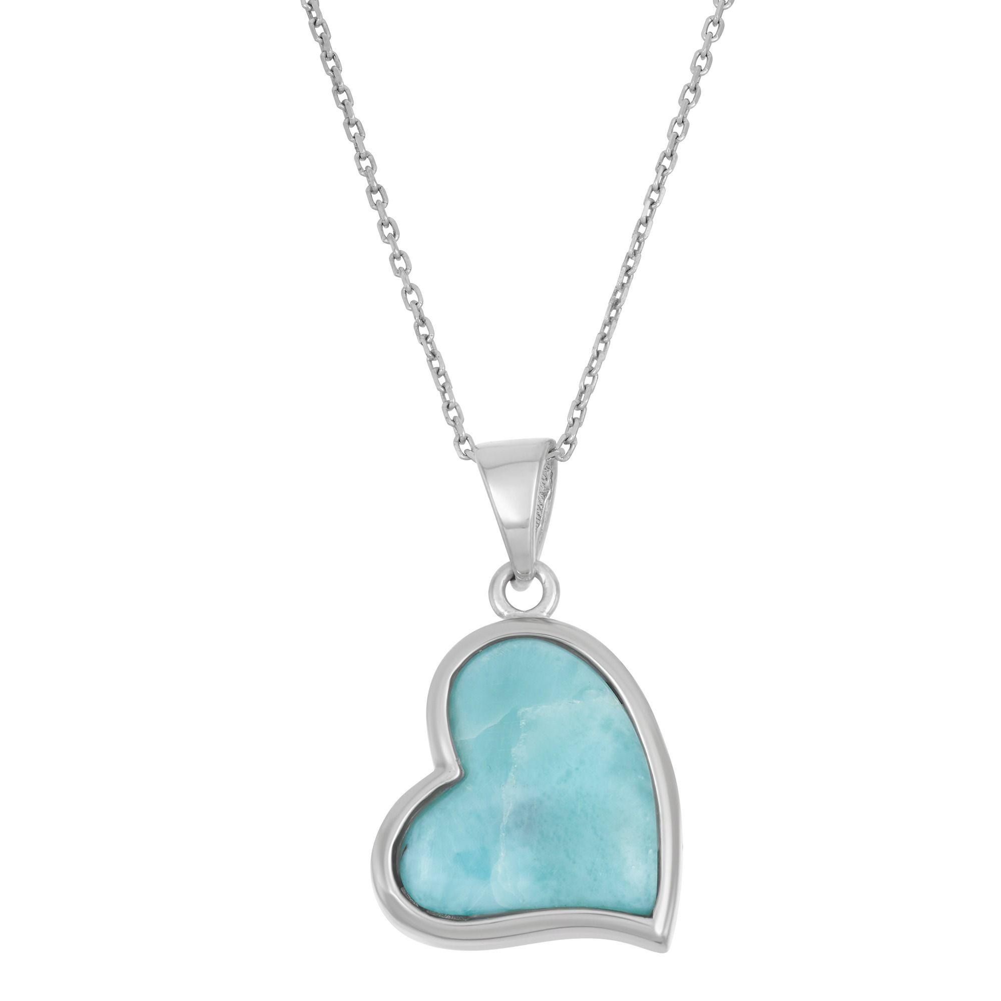 La preciosa sterling silver larimar gemstone heart necklace womenus