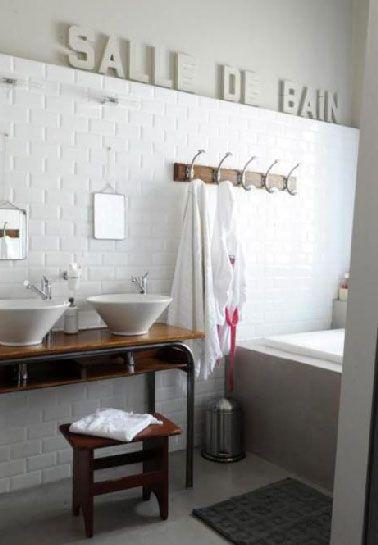 Plan vasque faire soi m me en b ton bois carrelage salle de bain bathroom beautiful - Plan vasque bois salle de bain ...