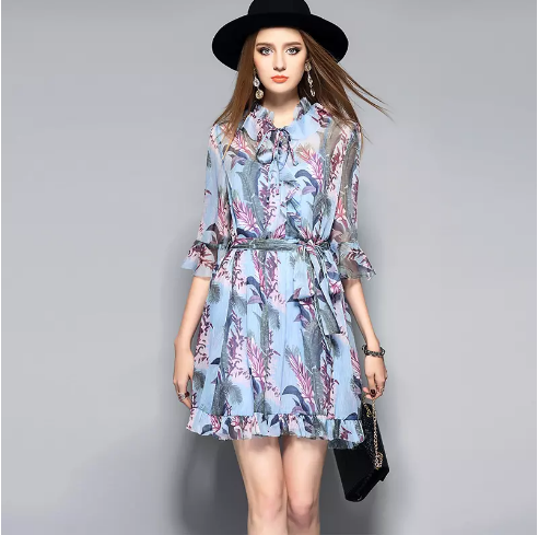 8573605f58 De Fee European Women Floral Printed Dress 2017 Spring And Summer Fashion  Dress New Lace Collar Dress