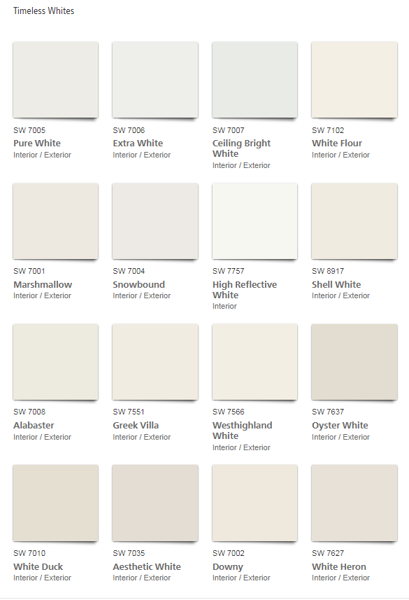 Timeless Whites Sherwin Williams Colors White Paint Colors