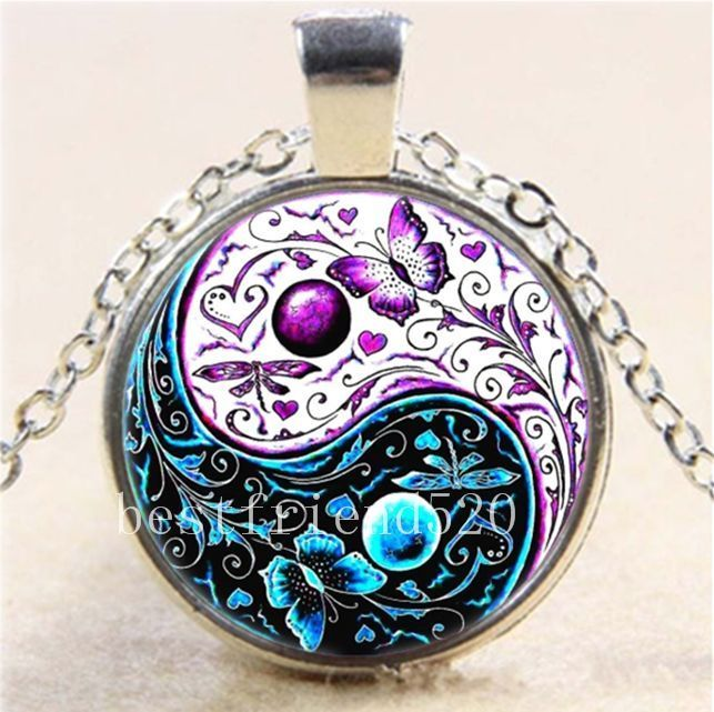 Ying Yang Butterfly Cabochon Glass Tibet Silver Locket Pendant Necklace