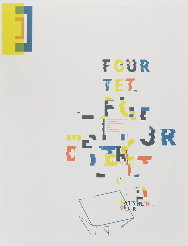 """FOUR TET / MATTHEW DEAR  By: Nick  Date: 2010  Size: 19 x 25""""  Edition: 75  Colors: 4-color screen print"""